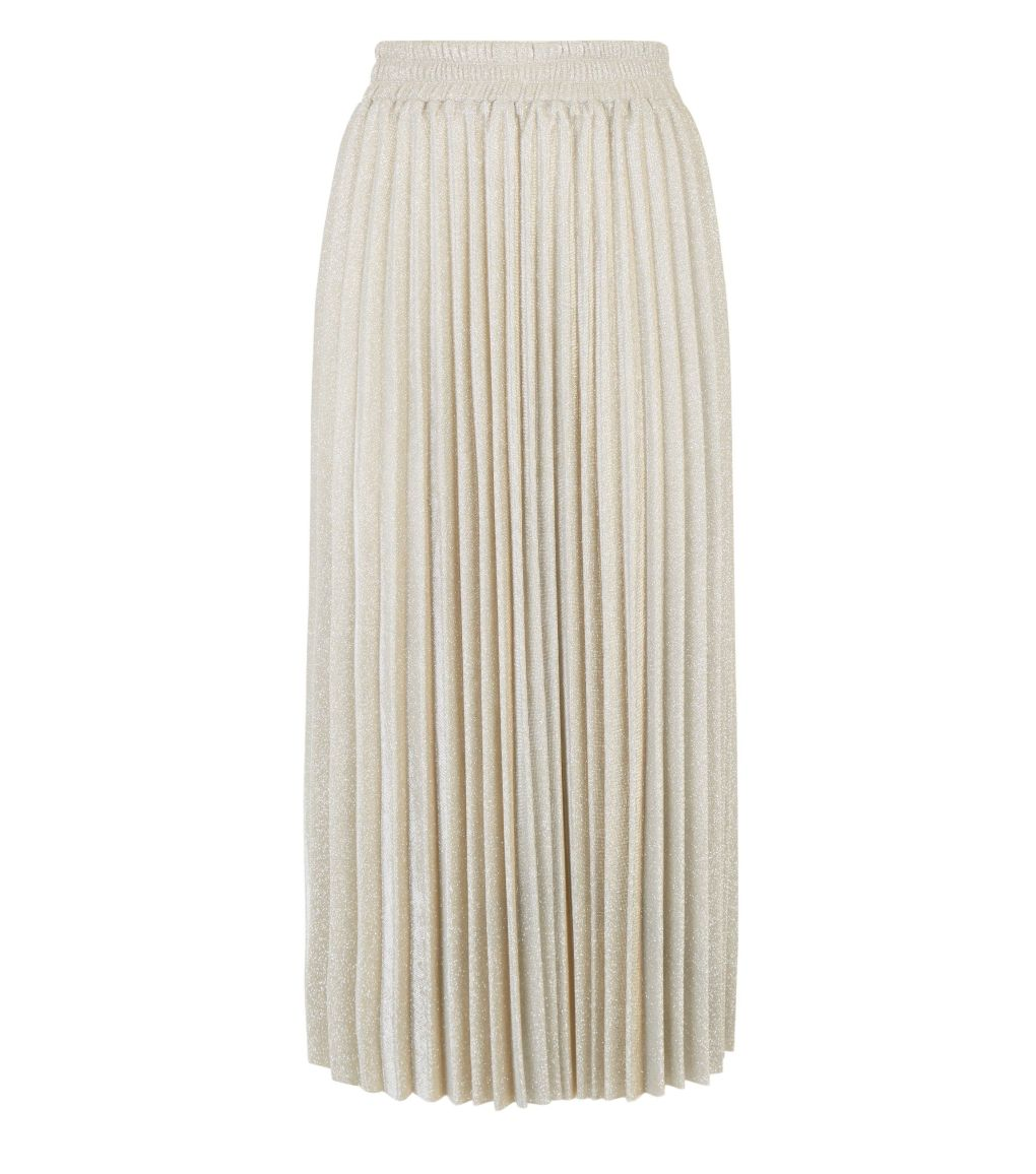 petite-gold-glitter-pleated-midi-skirt